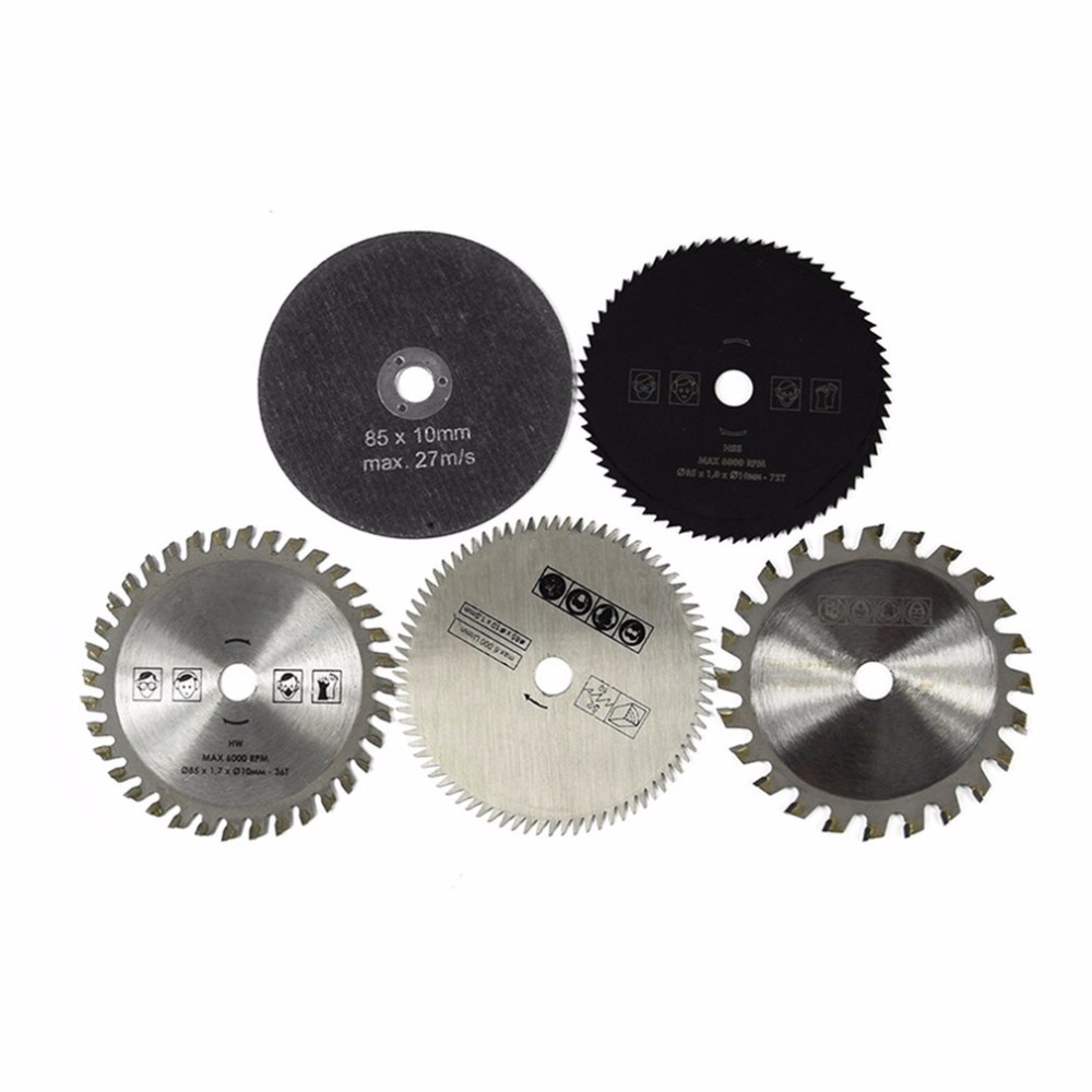 5PCS HSS TCT Circular Saw Blade Set 85x10MM Wood Cutting Discs For Dremel Metal Cutter Rotary Tool Cutting Discs Set