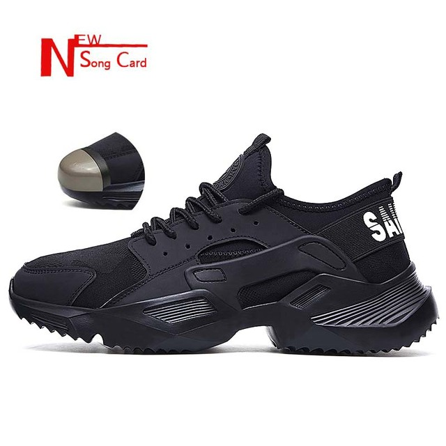 New song card Lightweight fashion breathable Work sneakers Safety Shoes men and women steel toe cap Anti crush work safety Boots