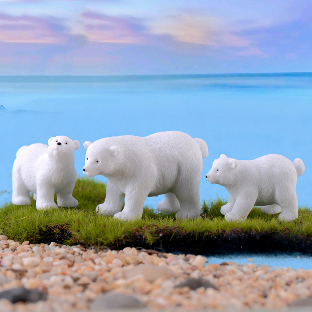 2019 modern lovely mini Polar bear home decor decoration home accessories miniature garden animals Resin figurine easter nordic 6