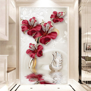 Custom Mural 3D Jewelry Red Flowers Butterfly Entrance Wall Decor Painting For Living Room Corridor Hallway Background Wallpaper