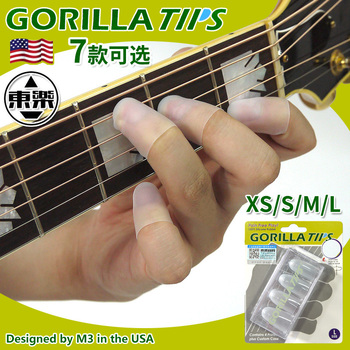 Gorilla Tips by IM Fingertip Protector Cover in Clear/Blue Pain Relier for Guitar Bass Ukulele Players String Finger Guards gorilla tips by im fingertip protector cover in clear blue pain relier for guitar bass ukulele players string finger guards