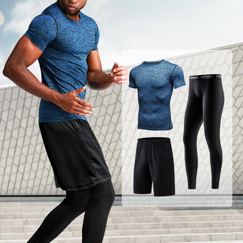 Men's Sportswear Compression Sport Suit Male Fitness Gym Sports Set Elastic Sportwear Basketball Workout Running Sports Clothes