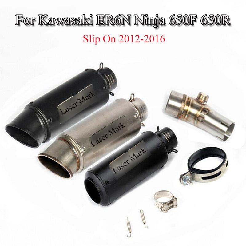 Slip-on ER6N Ninja 650F 650R Motorcycle Exhaust System Muffler Pipe Middle Link Pipe For Kawasaki ER6N Ninja 650F 650R 2012-2016