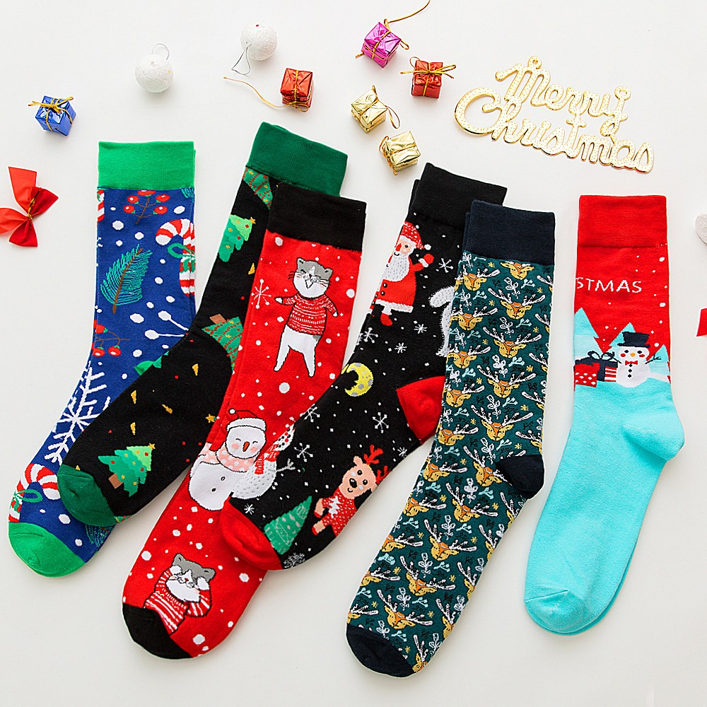 Brand Quality Mens Happy Socks 13Colors Striped Plaid Diamond Cherry Socks Men Combed Cotton  Christmas Colorful Santa Claus Elk