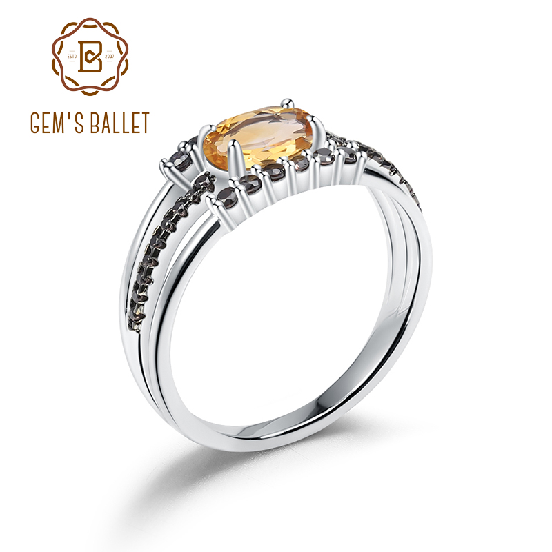 GEM'S BALLET 0.81Ct Natural Citrine Gemstone Rings for Women Real 925 Sterling Silver Classic Birthstone Ring Fine Jewelry