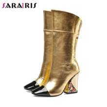 SARAIRIS New Runway Show Leather mid-calf Boots Ladies Luxury Brand Boots Women 2019 Runway Show High Heels Shoes Woman 33-43 цена 2017