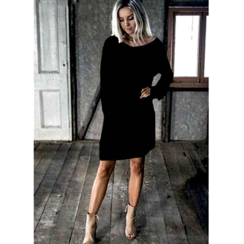 Женское платье-свитер с длинным рукавом и круглым вырезом; однотонное платье-джемпер; свободный свитер; мини-платье; модное простое зимнее платье; популярное женское платье