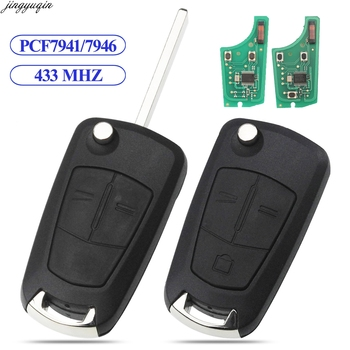 Jingyuqin Flip Remote Car Key 433MHZ PCF7941/7946 For Opel/Vauxhall Astra H 2004-2009 Zafira B 2005-2013 Corsa D Vectra C 2/3B flip remote car key shell case 2 button for vauxhall opel corsa astra h zafira b vectra key cover remtekey