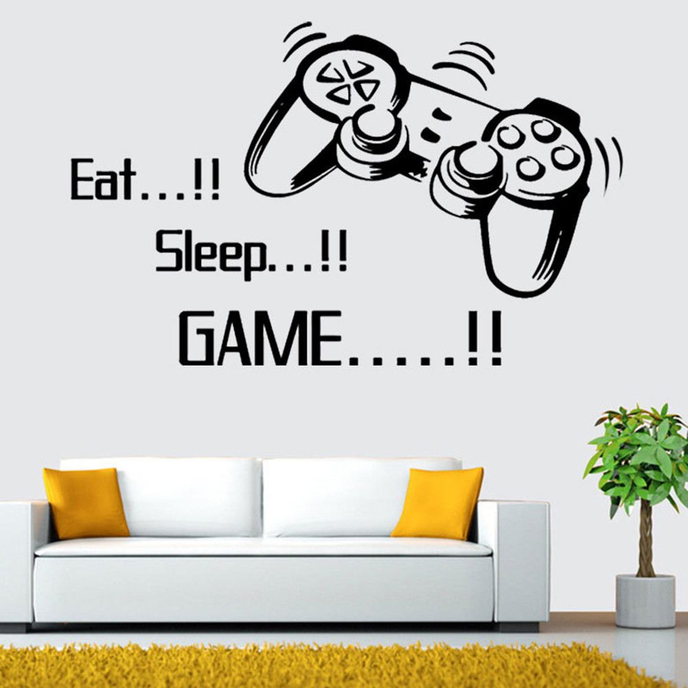 Eat Sleep Game Wall Stickers Boys Bedroom Letter DIY Kids Rooms Decoration Art  Creative Comfortable Warmth Quality Fashion