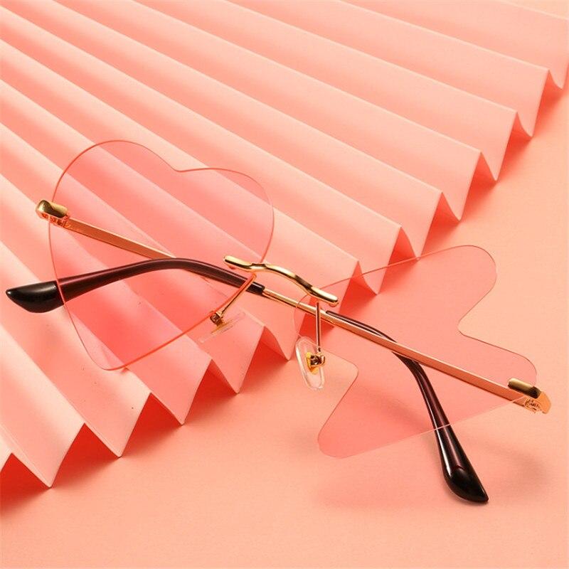 Luxury Fashion Heart Sunglasses Women Rimless Funny Sun Glasses Shades Heartbeat Personality Vintage Mirror Eyewear Female UV400