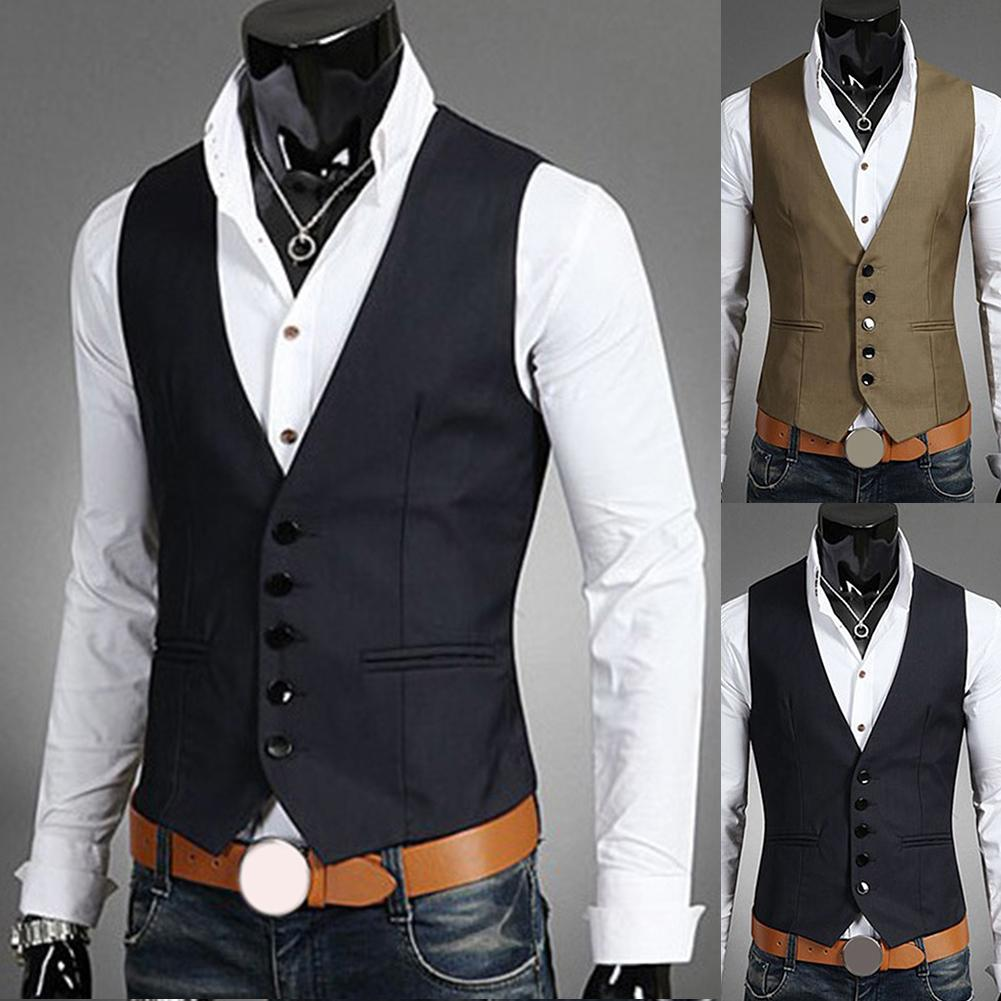 Business Waistcoat Men's Suit Solid Color V-Neck Button Pocket Sleeveless Slim Fit Vest Formal Single Breasted Sleeveless Jacket