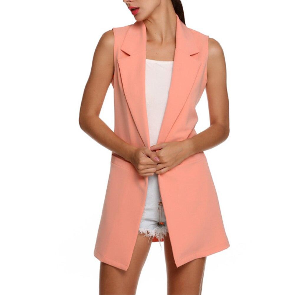 H5d2a65ff76f843b8be2aa19ce06c5c98P Summer V-Neck Vest Pocket Women Thin Loose Waistcoat Single Breasted Sleeveless Blazer Feminino Short Slim Vest Femme Tide XXL