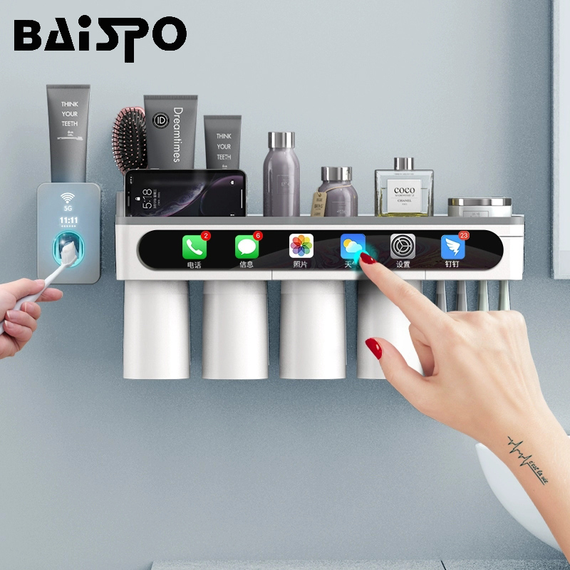 BAISPO Magnetic Adsorption Toothbrush Holder Inverted Cup Wall Mount Bathroom Cleanser Storage Rack Bathroom Accessories SetBathroom Accessories Sets   -