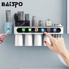 Магнитный держатель зубной щетки BAISPO, держатель для зубной щетки с инвертированной чашкой, настенное крепление, полка для хранения, набор аксессуаров для ванной комнаты