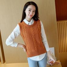 2019 Women High Quality Korean Loose O-Neck Knit Sweater Vest Sleeveless Pure Color Casual