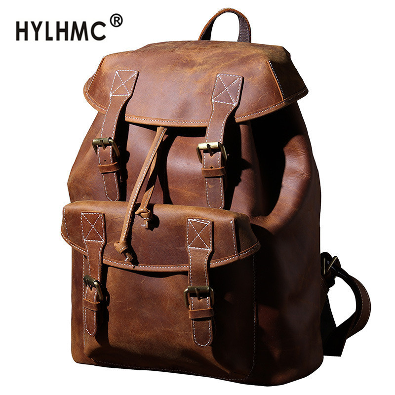 New retro leather large capacity backpack Men laptop bag first layer cowhide travel backpack male crazy horse leather schoolbag
