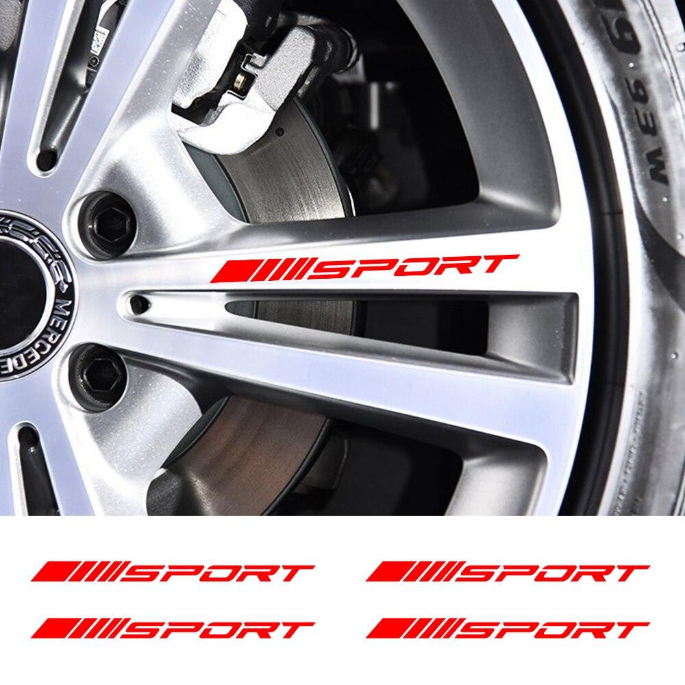 4pcs Car Rims Wheel Stickers Vinyl Auto DIY Decals For Volkswagen Passat BMW E46 E90 E39 E60 Ford Focus 2 3 Audi Car Accessories