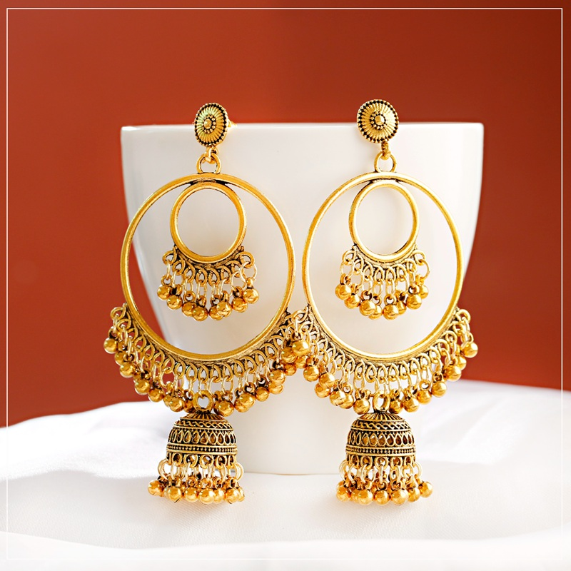 H5d2ab417dcc04a89b7e94c8462bca8132 - Antique Gold Boho Big Round Circle Gypsy Tribal Indian Drop Earrings For Women Vintage Bell Tassel Earring Womens Jewellery