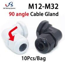JIAF 90 Ange Câble Glande 10 pièces M12-M32 Nylon Joint Étanche IP68 M20 Joint En Plastique Joint M25 Boîte Prise Connecteur De Verrouillage