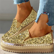 2020 Women Flats Sequin Ladies Glitter Bling Loafers Flat Platform Fashion Woman Spring Casual Moccasins Female Shoes(China)