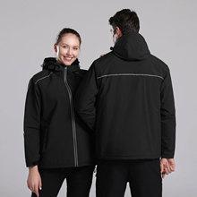 Hooded-Coat Waterproof Outdoor-Jackets Reflective Windbreaker Fleece Women with Warm