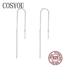 COSYOU 2019 Elegant New Genuine 925 Sterling Silver Simple Line Drop Earrings for Women Authentic Silver Jewelry Gift SCE490(China)