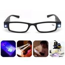 Óculos para leitura com luzes LED, +1.00 +1.50 +2.00 +2.50 +3.00 +3.50 +4.00, dioptria presbiopia óculos para noite