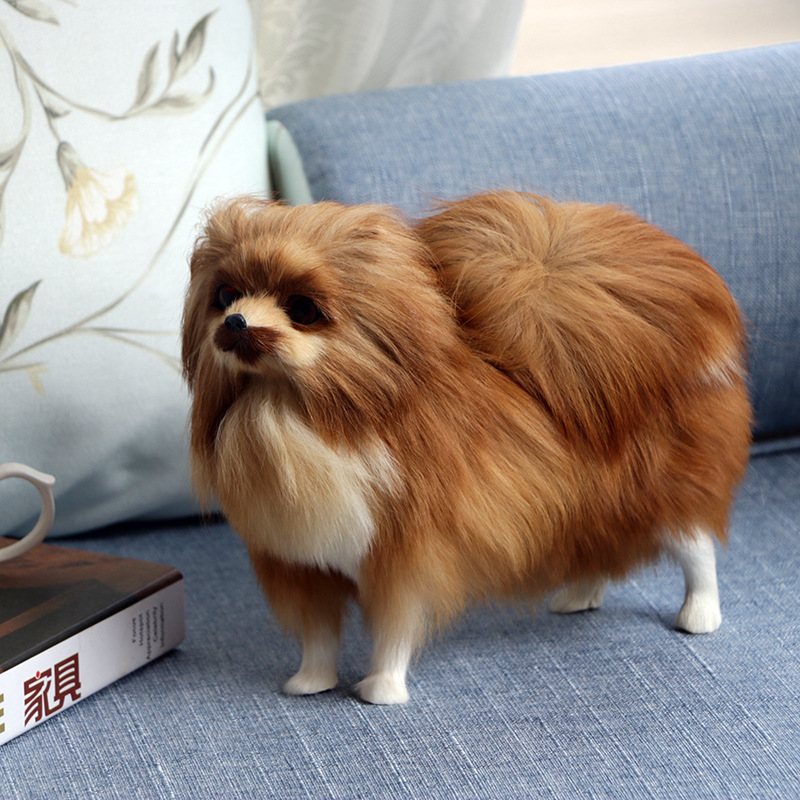 Craft Dolls Plush Simulated Dog Handmade Dog Ornament Real Fur +PE Material Simulation Animal Crafts Adornment For Kid GY39