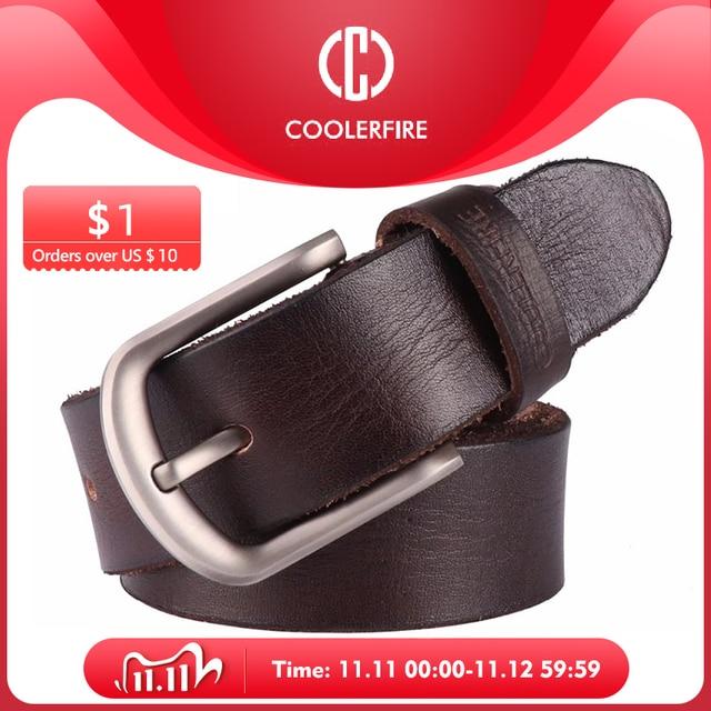 2017 Mới, thắt lưng nam da bò đầu Full hạt thật 100% chính hãng da bò da quần jean mềm dây TM050