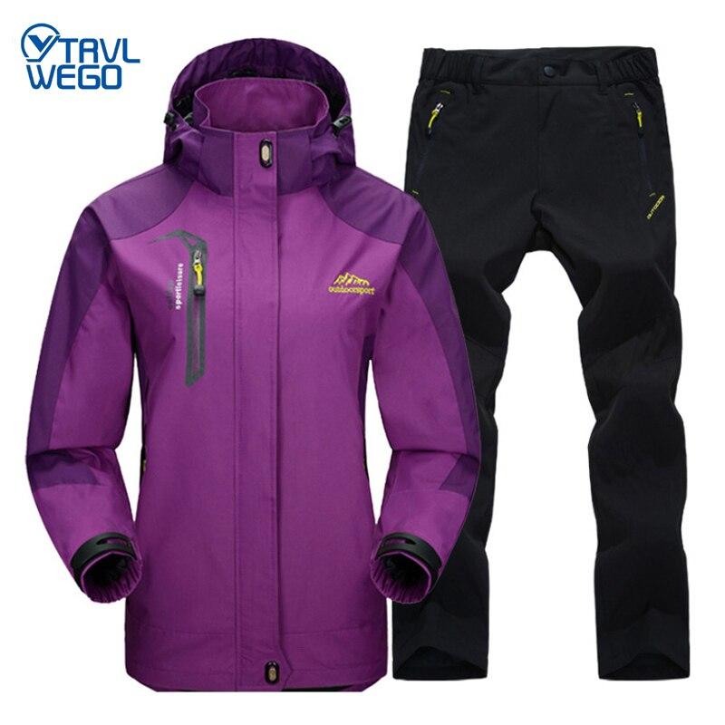 TRVLWEGO Spring and Autumn Outdoor Clothing Hiking Camping Jacket Pants Women's Suit Windbreak Trekking Single Coat Trousers