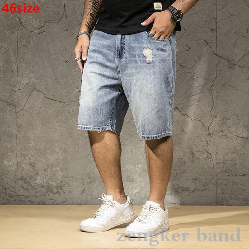 Men's Denim Shorts Light Men's Summer Large Size Men's Loose Thin Tide Hole Oversized Five-point Men Shorts Cotton Big Size Men