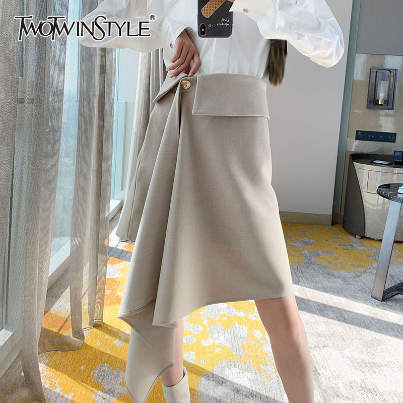 TWOTWINSTYLE Casual Asymmetrical Women Skirt High Waist Patchwork Irregular Ruched Skirts For Female Clothing 2020 Tide Fashion