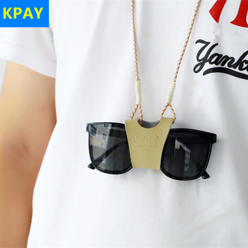 Hanging Neck Clip Glasses Case Genuine Leather Women Man Portable Bags Sun Box For Eyeglass Sunglasses Cute Protection Cover