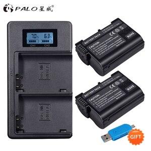 PALO EN-EL15 EN EL15 ENEL15 EL15A Batteries LCD Dual USB Charger for Nikon D600 D610 D600E D800 D800E D810 D7000 D7100 d750 V1(China)