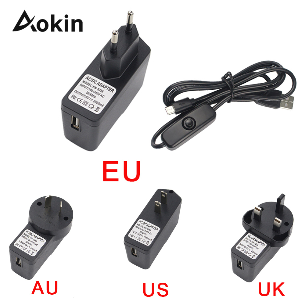 <font><b>DC</b></font> 5V2. 5A 5-<font><b>V</b></font> 2.5A Food Source Supply <font><b>AC</b></font> U.S. Adapter of Micro USB Energy Loading Cable with Interruptor To raspberry Pi <font><b>3</b></font> 2 image