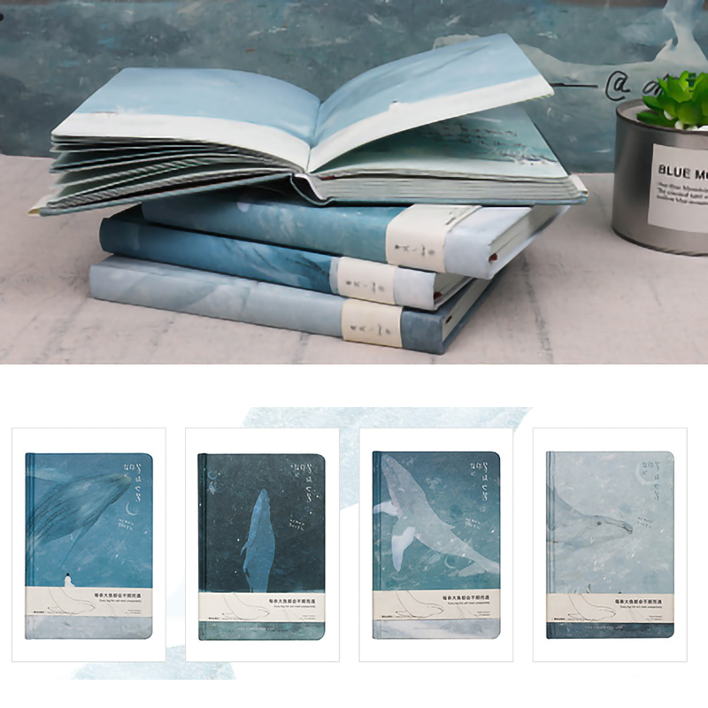 Whale Illustrations Sketchbook Notepad Diary Drawing 112 Sheets Cute Whale Notebook Paper Book Office School Supplies Gift