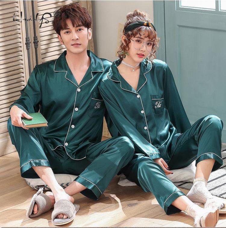 2020 Luxury Pajama suit Satin Silk Pajamas Sets Couple Sleepwear Family Pijama Lover Night Suit Men & Women Casual Home Clothing 3