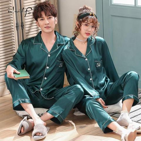 Luxury Pajama suit Satin Silk Pajamas Sets Couple Sleepwear Family Pijama Lover Night Suit Men & Women Casual Home Clothing Islamabad