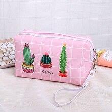 цена на 2019 new fashion  girl  Cosmetic Bag PU  Women Travel Makeup Bag Zipper Cactus Toiletry Bag neceser Dropshipping
