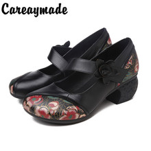 Careaymade-Genuine leather shoes,New Ethnic Style Leather LadiesSingle Shoes with Rough Middle heel and Shallow Mouth shoes
