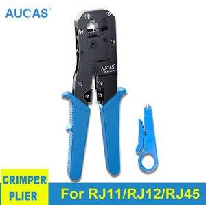 Image 1 - AUCAS Rj45 Crimper Tool Crimping Cable Networking Wire Ratchet Pliers Lan Kit RJ12 Tools   Punch Mikrotik Krimptang Equipment