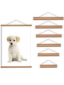 Hanging-Kit Magnet Teak Magnetic-Poster-Hanger Frame Wood Photo-Pictures Artwork Wall-Art