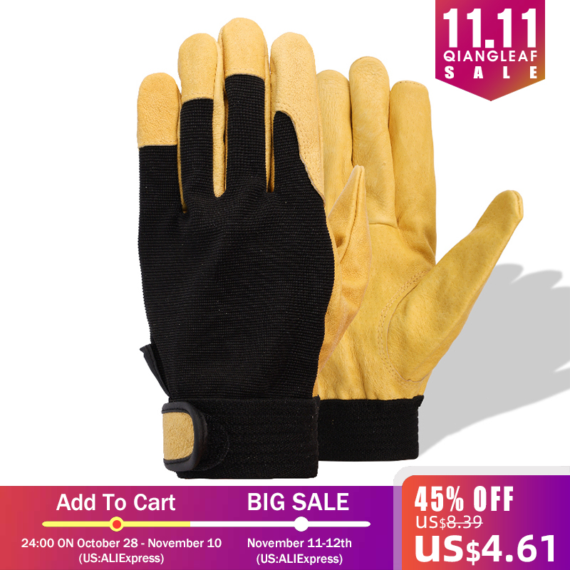Image 5 - QIANGLEAF Brand New Protection Safety Glove Cowhide men yellow Leather Driver Security Protection Racing Moto Work Gloves 508NP-in Safety Gloves from Security & Protection