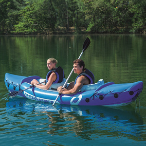 Image 5 - JayCreer 2 Person Inflatable Kayak With Paddle,Load 160KGS ,Material 0.57mm PVC ,Size:321X88CM Blue,351X76CM Orange