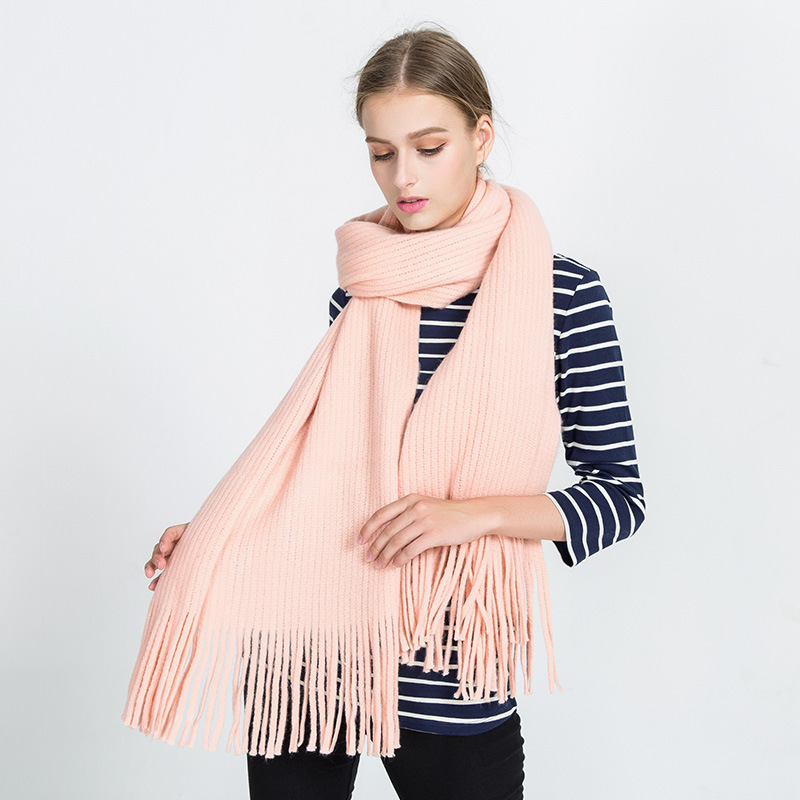 OuMo brand Autumn winter Cashmere scarf women s Solid long shawl tassel Knitting wool Student girl Keep warm scarf 175 47cm in Women 39 s Scarves from Apparel Accessories