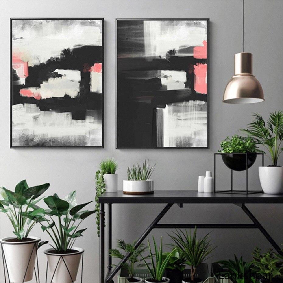 Lienzo Grande Arte Abstracto Rosa y Negro giros A1