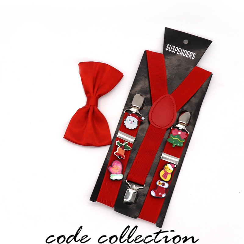 4 Colors Y-shape Kids Suspender Classic 3 Clips Christmas Santa Claus Suspenders Shirt Stay Gift Bow Tie Clothes Accessories