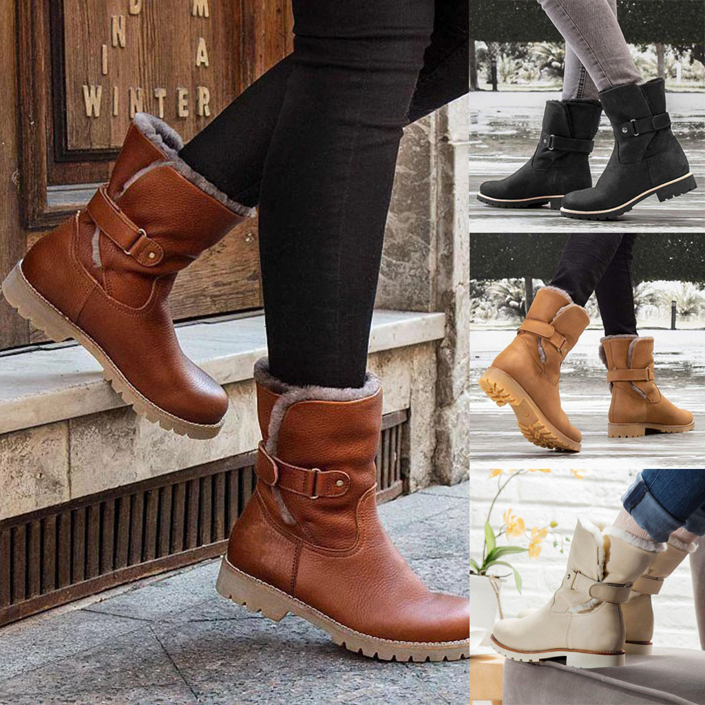Fashion Pure Color Winter Boots Round Toe Slip-On Boots Square Heels Buckle Strap Casual Vintage Women Plush Insole Snow Boots