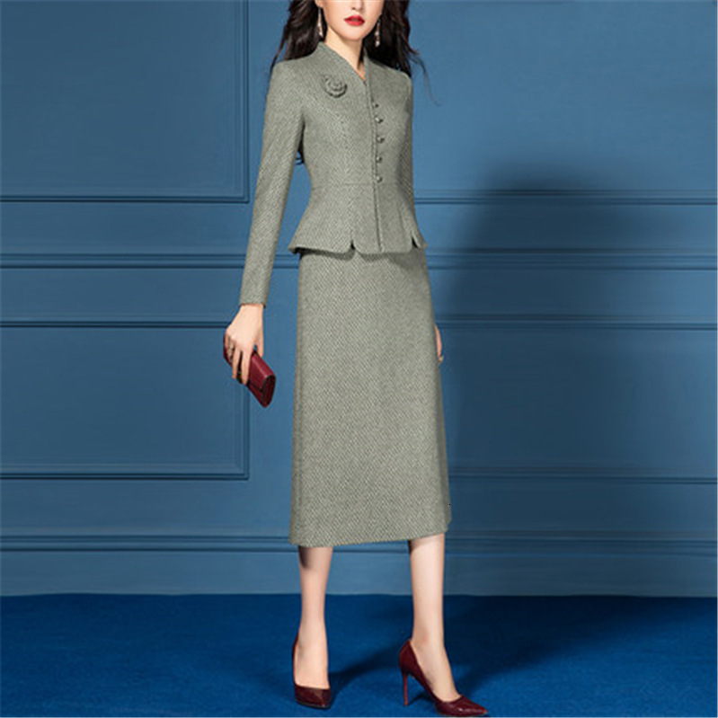 Autumn Winter Wool Women Dress Suit Clothing 2 Two Piece Set Long Sleeve Vintage Jacket Elegant Dress Offce Lady Work Female