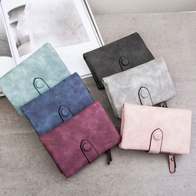 [LFMB]Women Wallet Female  Leather Wallet Matte Wallet Short Cartera Mujer Cute Tri-fold Multi-card Female Wallet 2